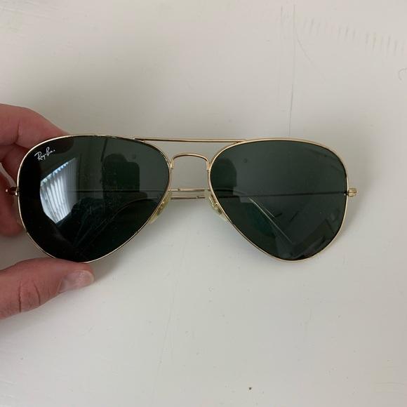 Classic RayBan aviator sunglasses gold hardware